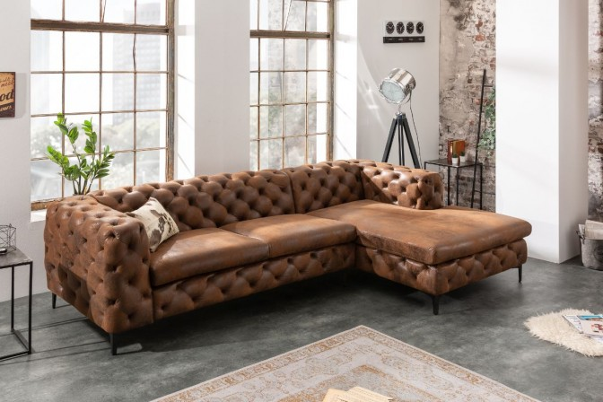 Corner sofa modern baroque antique brown OT right