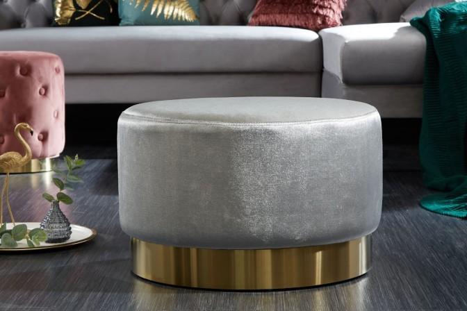 Modern baroque stool 55cm gray gold