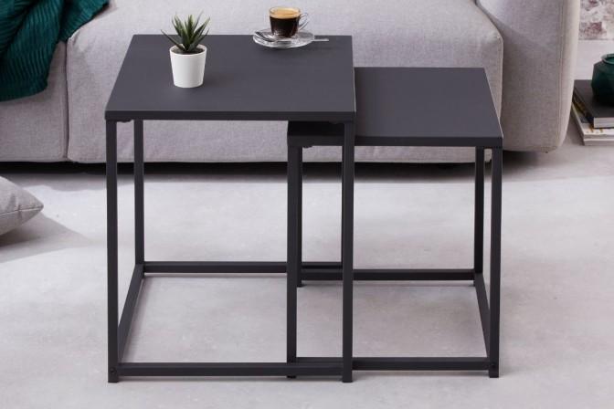 Side table Dura Steel set of 2 black metal