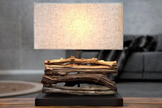 Tischleuchte aus Treibholz Perifere beige