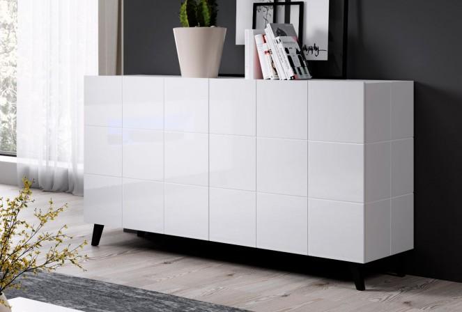 REJA 2D sideboard white gloss + black legs