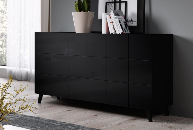 REJA 2D sideboard black gloss + black legs
