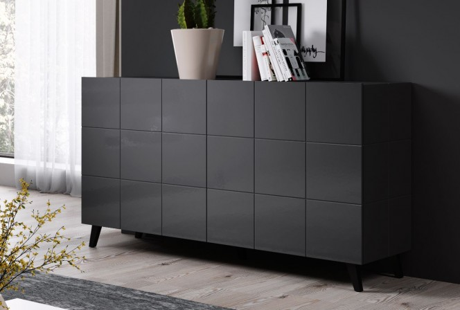 REJA 2D sideboard graphite gloss + black legs