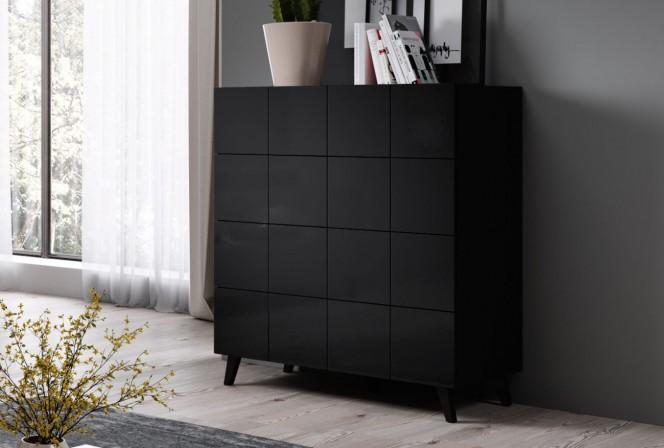 REJA 4S sideboard black gloss + black legs