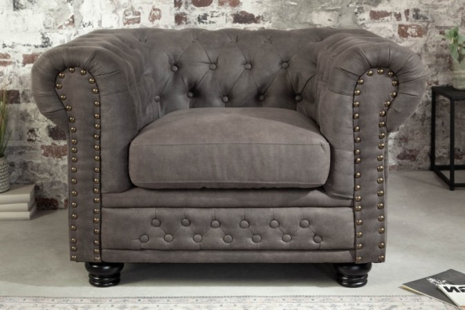 Sessel Chesterfield grau Antik Look