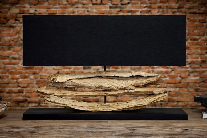 Tischleuchte aus Treibholz Riverine schwarz