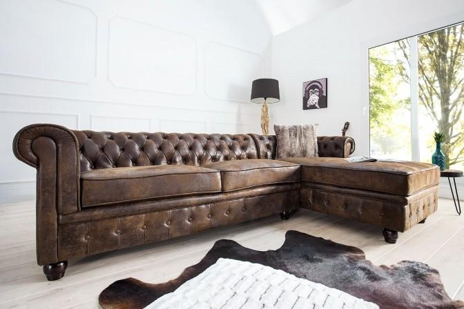 Corner sofa Chesterfield antique brown OT right