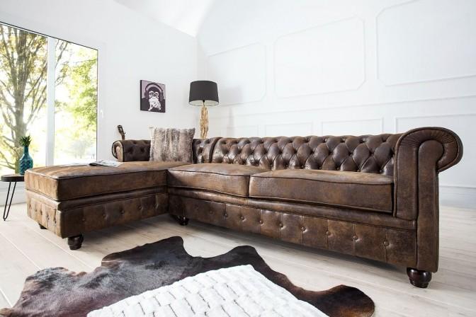 Corner sofa Chesterfield antique brown OT left