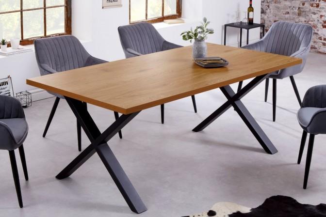 Dining table Loft 160cm oak look X-frame