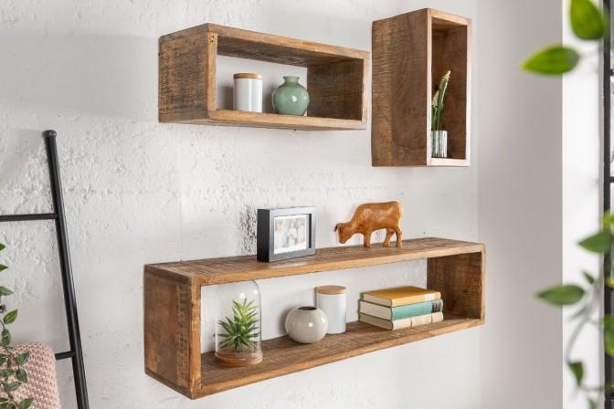 Wall shelf Hemingway set of 3 mango brown