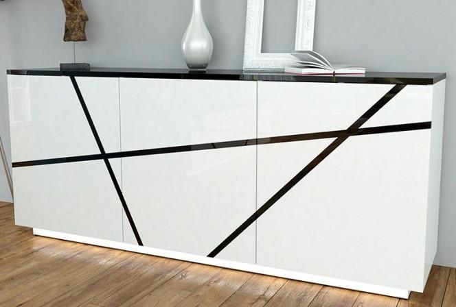ANTONIO - 200 cm skänk i svart/vitt