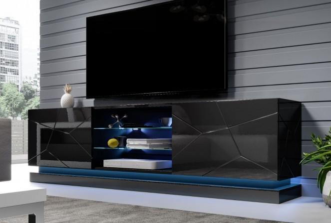 Babylon II - 200 cm TV-bänk i svart med LED