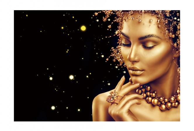 AMELIA - 120x80cm Glastavla Gyllene Ansikte