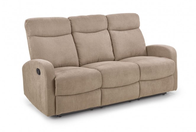 TRONDHEIM - Bekväm reclinersoffa i beige tyg 180 cm
