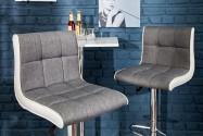 PALERMO - 90-115cm grå och vit barstol