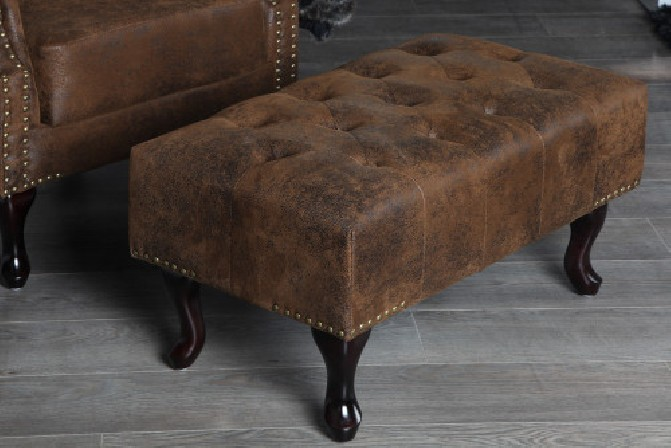 Fußhocker Chesterfield braun Antik Look