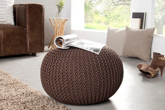 Pouf Leeds 50cm dark coffee Strick