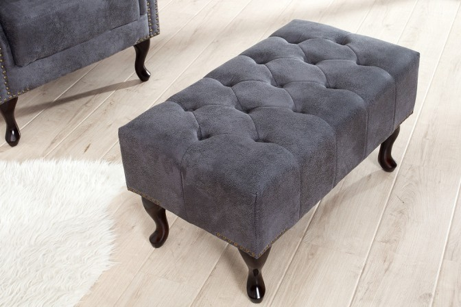 Fußhocker Chesterfield grau Antik Look