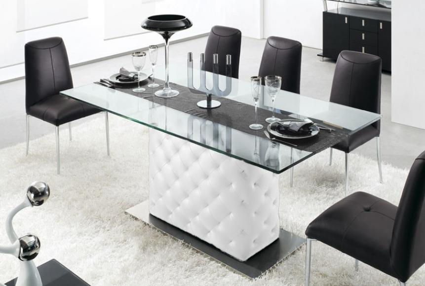 De Anza - glasbord i vit ECO-läder