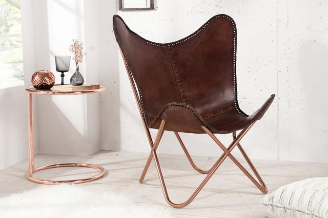 MARIPOSA - brun fåtölj i läder