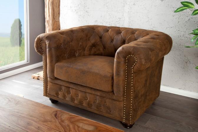 CHESTERFIELD - 110cm brun fåtölj i retrostil