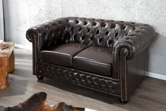Sofa Chesterfield 2er dark coffee m.Nieten