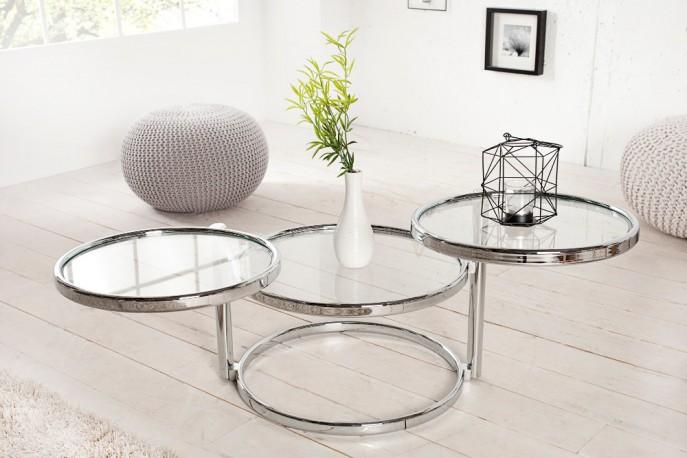 DEKORA elegant och flexibelt bord i Art Deco stil, ram i krom